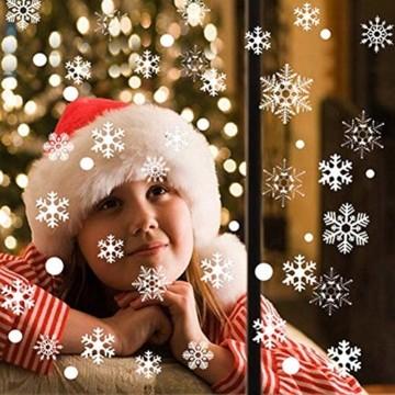 Weihnachts Schneeflocken Fensterbild Abnehmbare Fensterdeko Statisch Haftende PVC Aufkleber Winter Dekoration für Türen,Schaufenster, Vitrinen, Glasfronten - 8