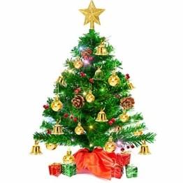 Weihnachtsbaum klein 50cm, künstlicher Christbaum mit bunter batteriebetriebener Lichterkette, Baumspitze, Kugeln, Schelle, Beeren, Kiefernzapfe, Weihnachtsdeko, Mini Tannenbaum für Tisch, Büro - 1