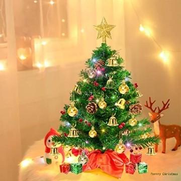 Weihnachtsbaum klein 50cm, künstlicher Christbaum mit bunter batteriebetriebener Lichterkette, Baumspitze, Kugeln, Schelle, Beeren, Kiefernzapfe, Weihnachtsdeko, Mini Tannenbaum für Tisch, Büro - 5