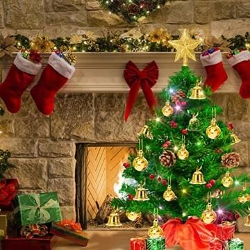 Weihnachtsbaum klein 50cm, künstlicher Christbaum mit bunter batteriebetriebener Lichterkette, Baumspitze, Kugeln, Schelle, Beeren, Kiefernzapfe, Weihnachtsdeko, Mini Tannenbaum für Tisch, Büro - 6