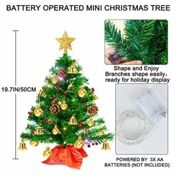 Weihnachtsbaum klein 50cm, künstlicher Christbaum mit bunter batteriebetriebener Lichterkette, Baumspitze, Kugeln, Schelle, Beeren, Kiefernzapfe, Weihnachtsdeko, Mini Tannenbaum für Tisch, Büro - 7