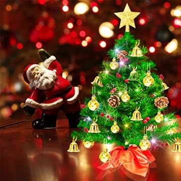 Weihnachtsbaum klein 50cm, künstlicher Christbaum mit bunter batteriebetriebener Lichterkette, Baumspitze, Kugeln, Schelle, Beeren, Kiefernzapfe, Weihnachtsdeko, Mini Tannenbaum für Tisch, Büro - 8