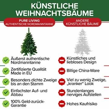 Weihnachtsbaum künstlich 120 cm – Dichte Zweige, einfacher Aufbau, Made in EU - Authentischer Christbaum mit Metallständer – Edle Nordmanntanne - Exklusiver Künstlicher Tannenbaum von Pure Living - 5