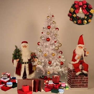 Weihnachtsbaum Weiss Künstlich Tannenbaum 210 cm Christbaum PVC Mit 25M Licht Metallständer - 2
