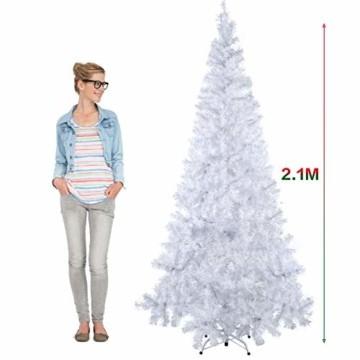 Weihnachtsbaum Weiss Künstlich Tannenbaum 210 cm Christbaum PVC Mit 25M Licht Metallständer - 3