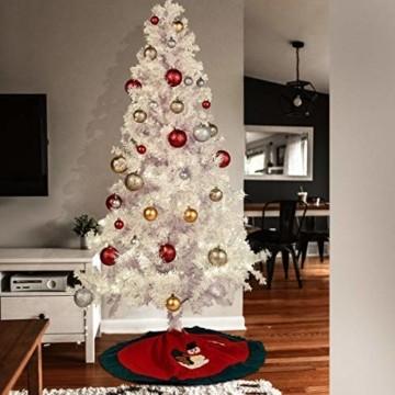 Weihnachtsbaum Weiss Künstlich Tannenbaum 210 cm Christbaum PVC Mit 25M Licht Metallständer - 4