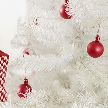 Weihnachtsbaum Weiss Künstlich Tannenbaum 210 cm Christbaum PVC Mit 25M Licht Metallständer - 8