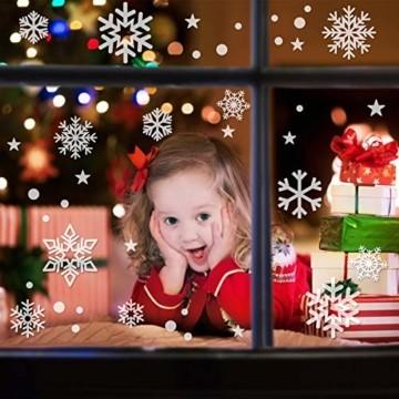 Weihnachtsdeko Fenster, 224PCS Schneeflöckchen Aufkleber Christmas Decorations, PVC Weihnachten Fensterbilder, Fenster Deko für Dankeschön & Weihnachtsdeko, Schneeflocken Deko (6 Blätter) - 4