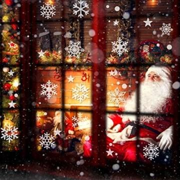 Weihnachtsdeko Fenster, 224PCS Schneeflöckchen Aufkleber Christmas Decorations, PVC Weihnachten Fensterbilder, Fenster Deko für Dankeschön & Weihnachtsdeko, Schneeflocken Deko (6 Blätter) - 5