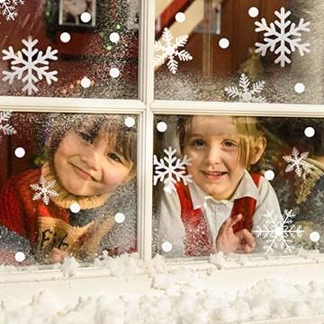 Weihnachtsdeko Fenster, 366 Schneeflocken Weihnachten Fensterbilder, Fenstersticker Fensteraufkleber PVC Fensterdeko Selbstklebend, für Türen Schaufenster Vitrinen Glasfronten Deko - 2