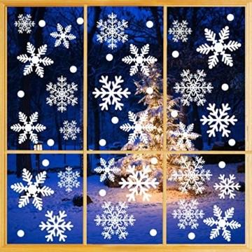 Weihnachtsdeko Fenster, 366 Schneeflocken Weihnachten Fensterbilder, Fenstersticker Fensteraufkleber PVC Fensterdeko Selbstklebend, für Türen Schaufenster Vitrinen Glasfronten Deko - 4