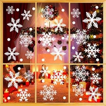 Weihnachtsdeko Fenster, 366 Schneeflocken Weihnachten Fensterbilder, Fenstersticker Fensteraufkleber PVC Fensterdeko Selbstklebend, für Türen Schaufenster Vitrinen Glasfronten Deko - 5