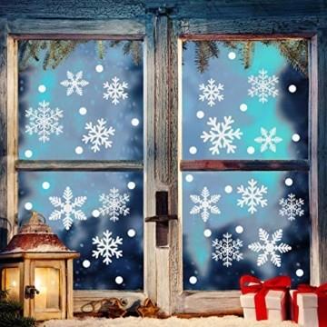 Weihnachtsdeko Fenster, 366 Schneeflocken Weihnachten Fensterbilder, Fenstersticker Fensteraufkleber PVC Fensterdeko Selbstklebend, für Türen Schaufenster Vitrinen Glasfronten Deko - 6