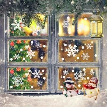Weihnachtsdeko Fenster, 366 Schneeflocken Weihnachten Fensterbilder, Fenstersticker Fensteraufkleber PVC Fensterdeko Selbstklebend, für Türen Schaufenster Vitrinen Glasfronten Deko - 7