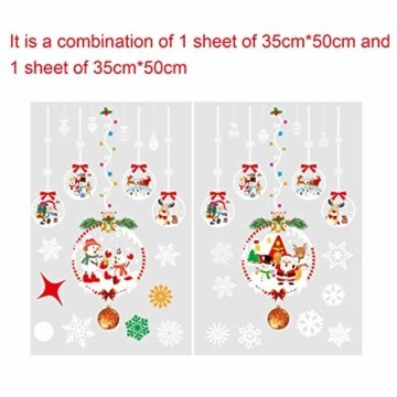 Weihnachtsdeko Fenster, Schneeflocke Fensteraufkleber, Weihnachts-Fenster Dekoration, Aufklebe Weihnachtsmann,PVC Fensterdeko Selbstklebend,, Fensterbilder, Schneeflocken Fenster,Deko Weihnachten - 2