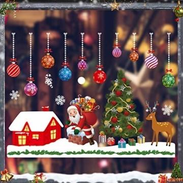 Weihnachtsdeko Fenster, Schneeflocke Fensteraufkleber, Weihnachts-Fenster Dekoration, Aufklebe Weihnachtsmann,PVC Fensterdeko Selbstklebend,, Fensterbilder, Schneeflocken Fenster,Deko Weihnachten - 1
