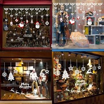 Weihnachtsdeko Fenster,Fensterbilder Weihnachten,Schneeflocke Fensteraufkleber,PVC Fensterdeko Selbstklebend,Weihnachts Fenster Dekoration,Aufklebe Weihnachtsmann,Schneeflocken Fenster,Fenstersticker - 3