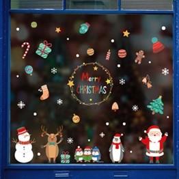 Weihnachtsdeko Fenster,Fensterbilder Weihnachten,Schneeflocke Fensteraufkleber,PVC Fensterdeko Selbstklebend,Weihnachts Fenster Dekoration,Aufklebe Weihnachtsmann,Schneeflocken Fenster,Fenstersticker - 1