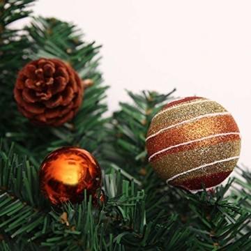Weihnachtsgirlande mit Beleuchtung, Morbuy Tannengirlande Batterie Remote 8 Modus Lichterkette Weihnachten Dekoration 2.7 Meter für Innen und Außen Verwendbar (270cm,Warmweiß) - 2