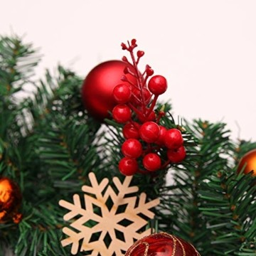 Weihnachtsgirlande mit Beleuchtung, Morbuy Tannengirlande Batterie Remote 8 Modus Lichterkette Weihnachten Dekoration 2.7 Meter für Innen und Außen Verwendbar (270cm,Warmweiß) - 4