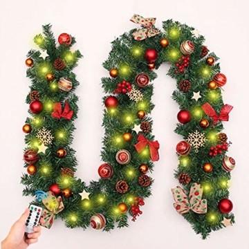 Weihnachtsgirlande mit Beleuchtung, Morbuy Tannengirlande Batterie Remote 8 Modus Lichterkette Weihnachten Dekoration 2.7 Meter für Innen und Außen Verwendbar (270cm,Warmweiß) - 1