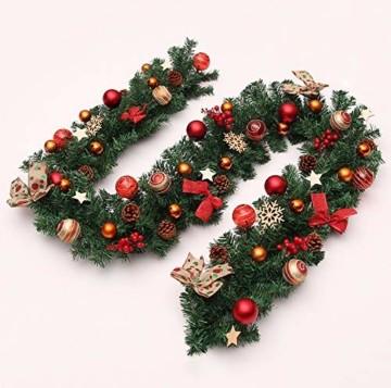 Weihnachtsgirlande mit Beleuchtung, Morbuy Tannengirlande Batterie Remote 8 Modus Lichterkette Weihnachten Dekoration 2.7 Meter für Innen und Außen Verwendbar (270cm,Warmweiß) - 5