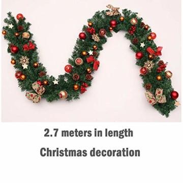 Weihnachtsgirlande mit Beleuchtung, Morbuy Tannengirlande Batterie Remote 8 Modus Lichterkette Weihnachten Dekoration 2.7 Meter für Innen und Außen Verwendbar (270cm,Warmweiß) - 6