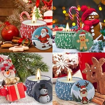 Weihnachtskerzen,Duftkerzen Geschenkset,Tragbares Blech Geschenkset im 4er-Pack,5,65 Unzen,120 Brennstunden,Natürliches Sojawachs mit ätherischen Ölen Kerzen,Geschenke für Fraue(Weihnachtsmuster) - 2