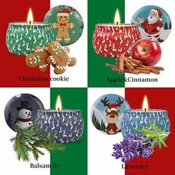 Weihnachtskerzen,Duftkerzen Geschenkset,Tragbares Blech Geschenkset im 4er-Pack,5,65 Unzen,120 Brennstunden,Natürliches Sojawachs mit ätherischen Ölen Kerzen,Geschenke für Fraue(Weihnachtsmuster) - 3