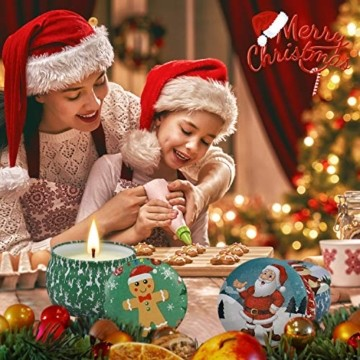 Weihnachtskerzen,Duftkerzen Geschenkset,Tragbares Blech Geschenkset im 4er-Pack,5,65 Unzen,120 Brennstunden,Natürliches Sojawachs mit ätherischen Ölen Kerzen,Geschenke für Fraue(Weihnachtsmuster) - 4
