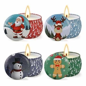 Weihnachtskerzen,Duftkerzen Geschenkset,Tragbares Blech Geschenkset im 4er-Pack,5,65 Unzen,120 Brennstunden,Natürliches Sojawachs mit ätherischen Ölen Kerzen,Geschenke für Fraue(Weihnachtsmuster) - 1