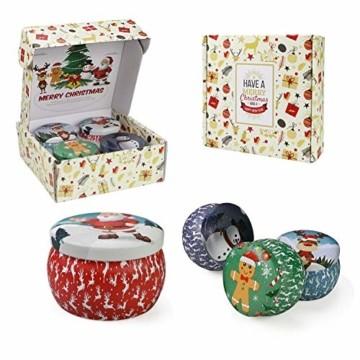 Weihnachtskerzen,Duftkerzen Geschenkset,Tragbares Blech Geschenkset im 4er-Pack,5,65 Unzen,120 Brennstunden,Natürliches Sojawachs mit ätherischen Ölen Kerzen,Geschenke für Fraue(Weihnachtsmuster) - 6