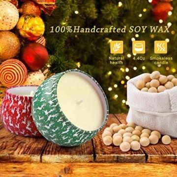 Weihnachtskerzen,Duftkerzen Geschenkset,Tragbares Blech Geschenkset im 4er-Pack,5,65 Unzen,120 Brennstunden,Natürliches Sojawachs mit ätherischen Ölen Kerzen,Geschenke für Fraue(Weihnachtsmuster) - 7