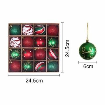 Weihnachtskugeln,Koqit 16 TLG. 6cm Reusable Christbaumkugeln Weihnachtsbaumschmuck Bruchsicher Plastik Ornament mit Anhänger für Party Weihnachtsdeko Elfen Thema Rot Grün Weiß - 3