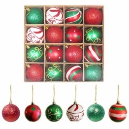 Weihnachtskugeln,Koqit 16 TLG. 6cm Reusable Christbaumkugeln Weihnachtsbaumschmuck Bruchsicher Plastik Ornament mit Anhänger für Party Weihnachtsdeko Elfen Thema Rot Grün Weiß - 1