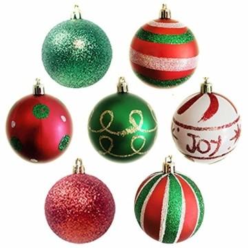 Weihnachtskugeln,Koqit 16 TLG. 6cm Reusable Christbaumkugeln Weihnachtsbaumschmuck Bruchsicher Plastik Ornament mit Anhänger für Party Weihnachtsdeko Elfen Thema Rot Grün Weiß - 4