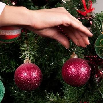 Weihnachtskugeln,Koqit 16 TLG. 6cm Reusable Christbaumkugeln Weihnachtsbaumschmuck Bruchsicher Plastik Ornament mit Anhänger für Party Weihnachtsdeko Elfen Thema Rot Grün Weiß - 5