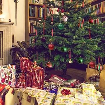 Weihnachtskugeln,Koqit 16 TLG. 6cm Reusable Christbaumkugeln Weihnachtsbaumschmuck Bruchsicher Plastik Ornament mit Anhänger für Party Weihnachtsdeko Elfen Thema Rot Grün Weiß - 6