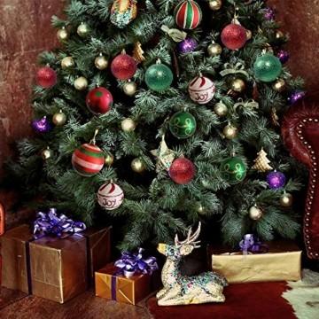 Weihnachtskugeln,Koqit 16 TLG. 6cm Reusable Christbaumkugeln Weihnachtsbaumschmuck Bruchsicher Plastik Ornament mit Anhänger für Party Weihnachtsdeko Elfen Thema Rot Grün Weiß - 7