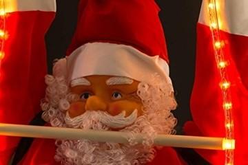 Weihnachtsmann auf Leiter 120/200cm mit LED beleuchtet innen/außen von Gartenpirat® - 2