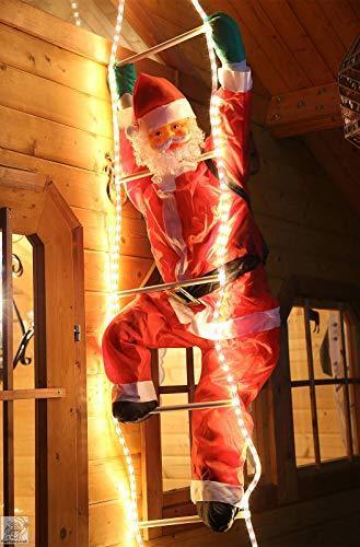 Weihnachtsmann auf Leiter 120/200cm mit LED beleuchtet innen/außen von Gartenpirat® - 4