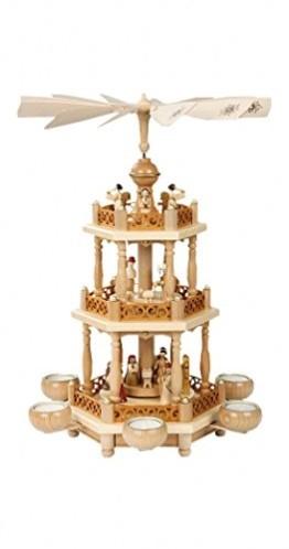 Weihnachtspyramide Erzgebirge Richard Glässer Seiffen Christi Geburt, 2-stöckig, Natur für Teelichte, 16702 - 1