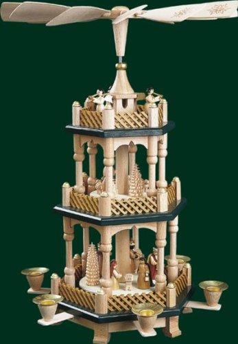 Weihnachtspyramide Tischpyramide Erzgebirge Richard Glässer Seiffen 2-stöckig Christi Geburt Natur grüne Böden, 16732 - 1