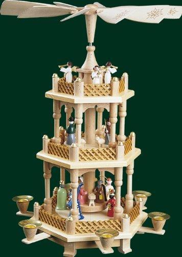 Weihnachtspyramide Tischpyramide Erzgebirge Richard Glässer Seiffen Seiffen 2-stöckig Christi Geburt bunt, 16720 - 1