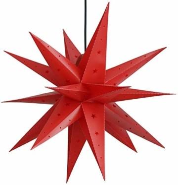 Weihnachtsstern 42cm Rot LED Batterie Adventsstern Außenstern 3D außen Stern Leuchtstern mit Timer - 2