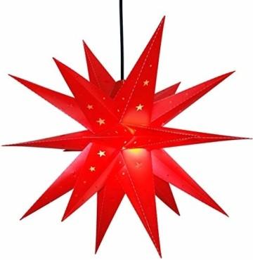 Weihnachtsstern 42cm Rot LED Batterie Adventsstern Außenstern 3D außen Stern Leuchtstern mit Timer - 1