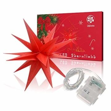 Weihnachtsstern 42cm Rot LED Batterie Adventsstern Außenstern 3D außen Stern Leuchtstern mit Timer - 7