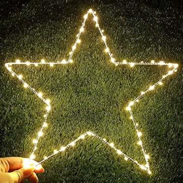 Weihnachtsstern Lichter, batteriebetriebene Dekorationen LED Lichterketten für Halloween Hochzeitszimmer Party Garten Warmweiß, 2er Pack - 5