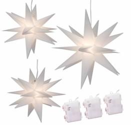 Weihnachtssterne 3er-Set LED Sterne weiß beleuchtet 25/25/35 cm warmweiß Weihnachtsbeleuchtung - 1