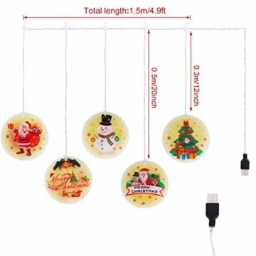 Weihnachtsvorhang LED-Lichterkette - 1,5 m x 0,5 m LED Lichtervorhang Fensterdekoration USB Hängeleuchte für Weihnachtsbaumdekoration, Wohnkultur, Schlafzimmer Außen Innen Fenster (warmweiß) - 2